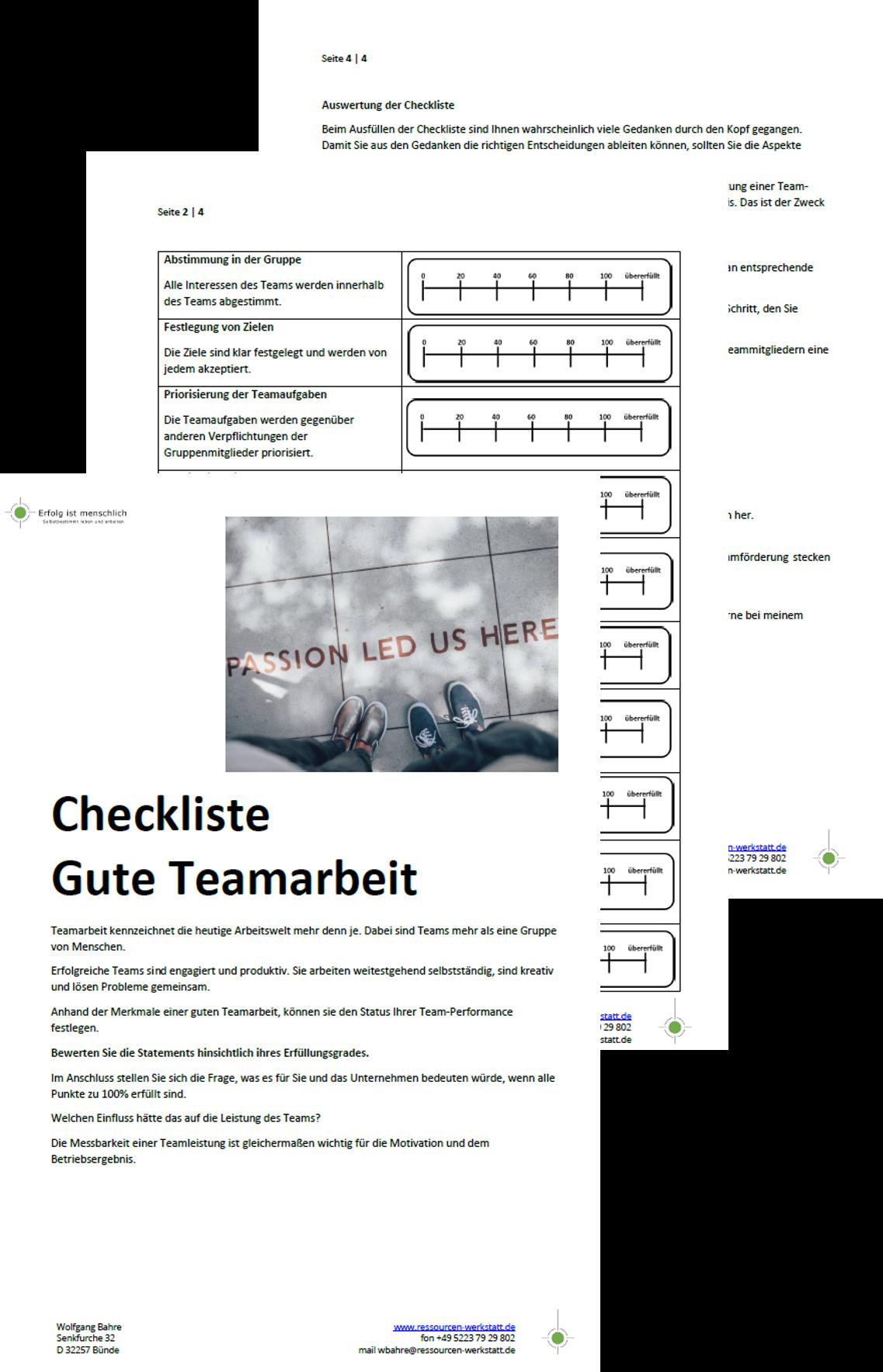 Checkliste Gute Teamarbeit
